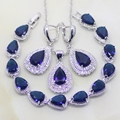Water Drop Blue Created Sapphire White Topaz 925 Sterling Silver Jewelry Sets Women Wedding Earrings/Pendant/Necklace/Bracelet