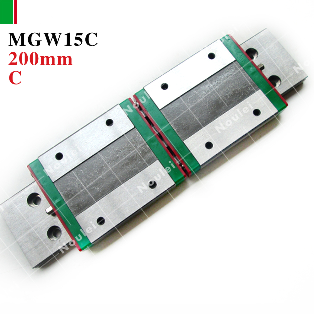 HIWIN MGW15C mini MGW15 slider with 200mm MGWR15 linear guide rails for 3d printer High efficiency CNC parts 15mm MGW 2pcs hiwin hgh25ca linear guide slider block linear rails carrier