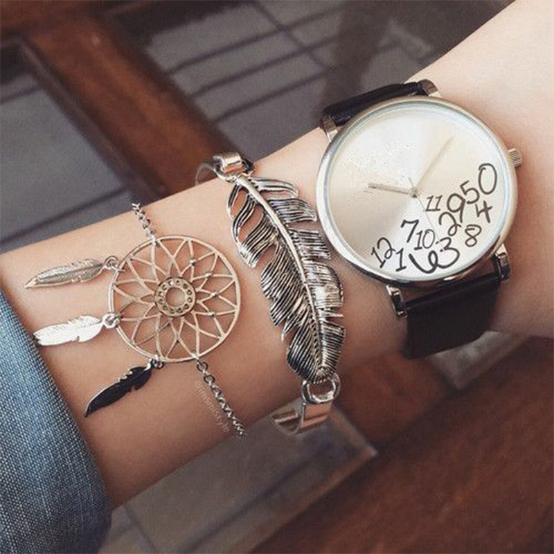 2 Teile/satz Böhmischen Dreamcatcher Blätter Quaste Silber Kette Armband Frauen Persönlichkeit Party Multilayer Armband Set Waren Des TäGlichen Bedarfs