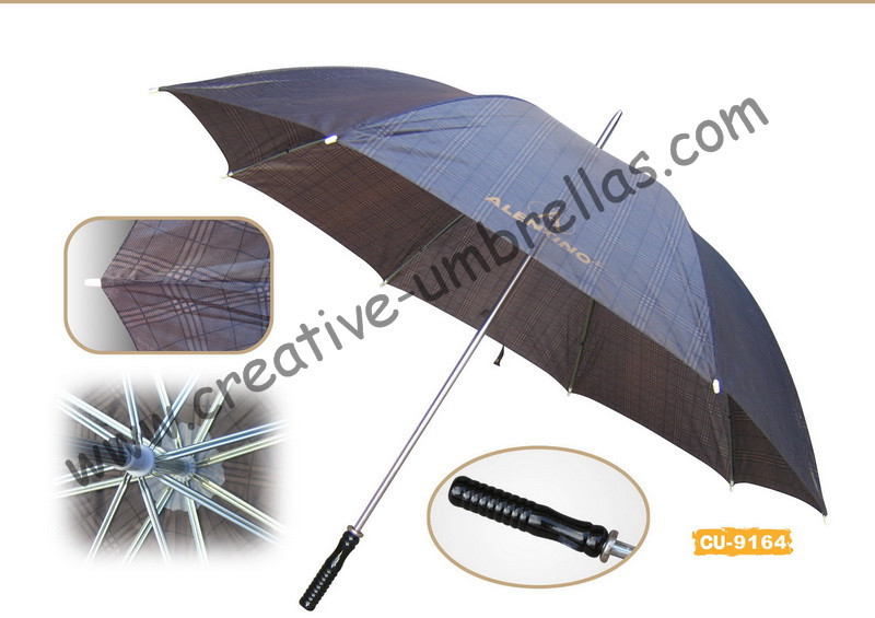 Free shipping by sea,14mm metal shaft and double fluted ribs,manual golf umbrella,anti-rust,check design with logo printing