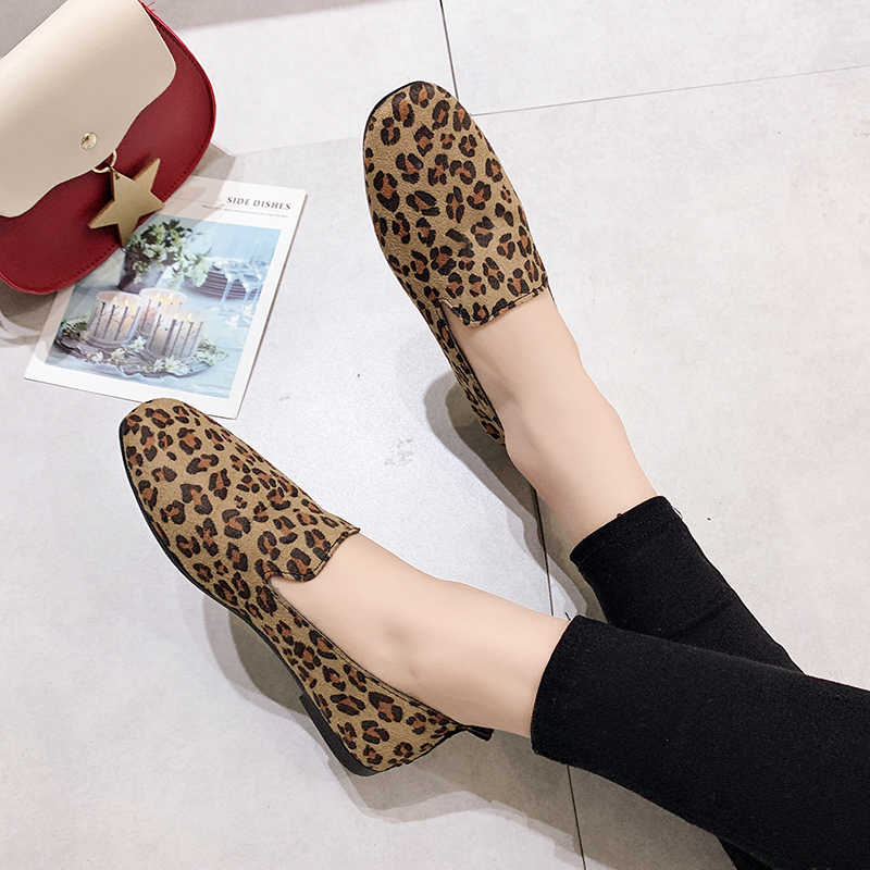 a4d9997a8623 ... Sexy leopard print flat shoes women's loafers 2019 new ballet shoes  women's leather turf casual ballet ...