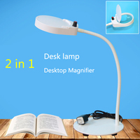 With lamp desktop magnifying glass 10 times 3 times the double lens For old man reading Student learning creative lamp PD 4S