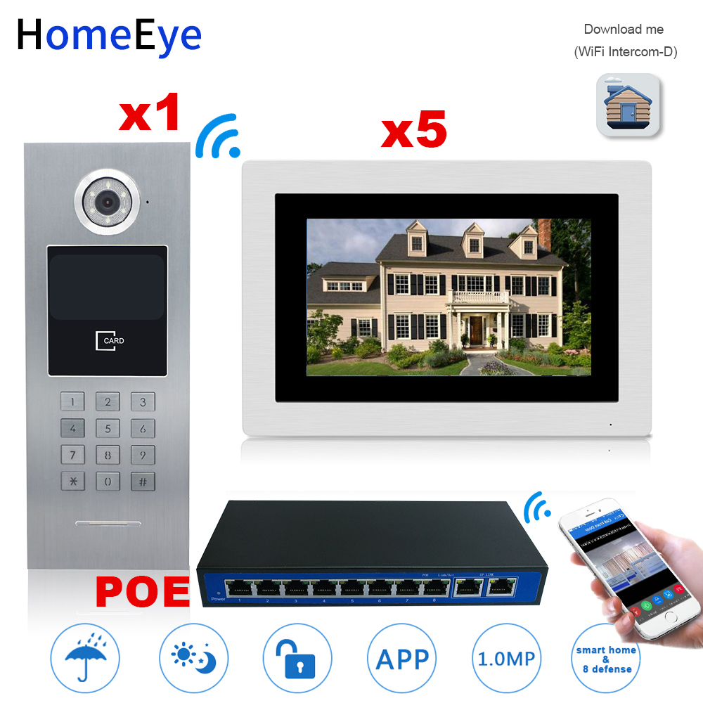 HomeEye 7'' 720P WiFi IP Video Door Phone Video Door Bell Home Access Control System Password/RFID Card + POE Switch IOS Android