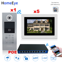 цена на HomeEye 7'' 720P WiFi IP Video Door Phone Video Door Bell Home Access Control System Password/RFID Card + POE Switch iOS Android