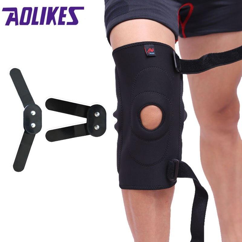 AOLIKES 1 piezas ajustable con bisagras de rodilla rótula de compresión de la rodilla con Kneepad alivio para baloncesto voleibol