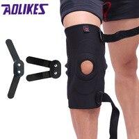 AOLIKES 1PCS Ajustável Articulada Knee Brace Patella Compressão Do Joelho Suporta Alívio para basquetebol voleibol Joelheira