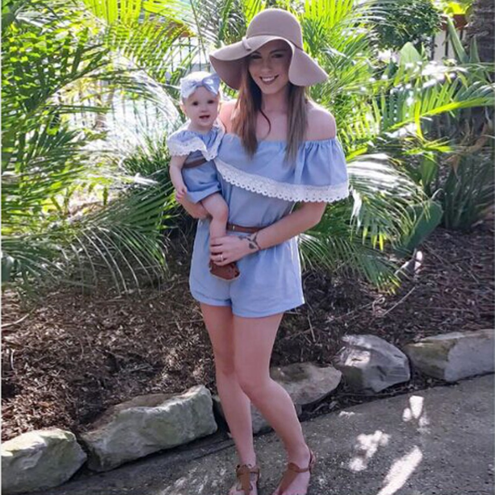 Summer Family Matching Outfits Blue Mommy and Daughter Mother Kids