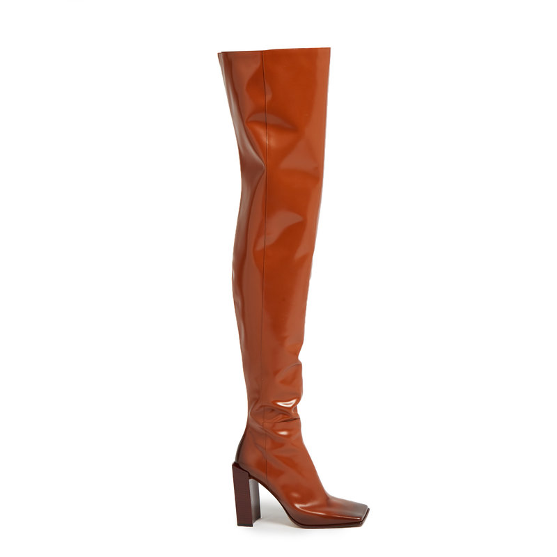2018 Runway Shoes Brown Leather Botas Mujer Side Zip Over The Knee Women Booties Square Toe Stacked Block Heel Thigh High Boots choudory botines mujer black thigh high boots square heel round toe zip over knee high boots fashion motorcycle booties women