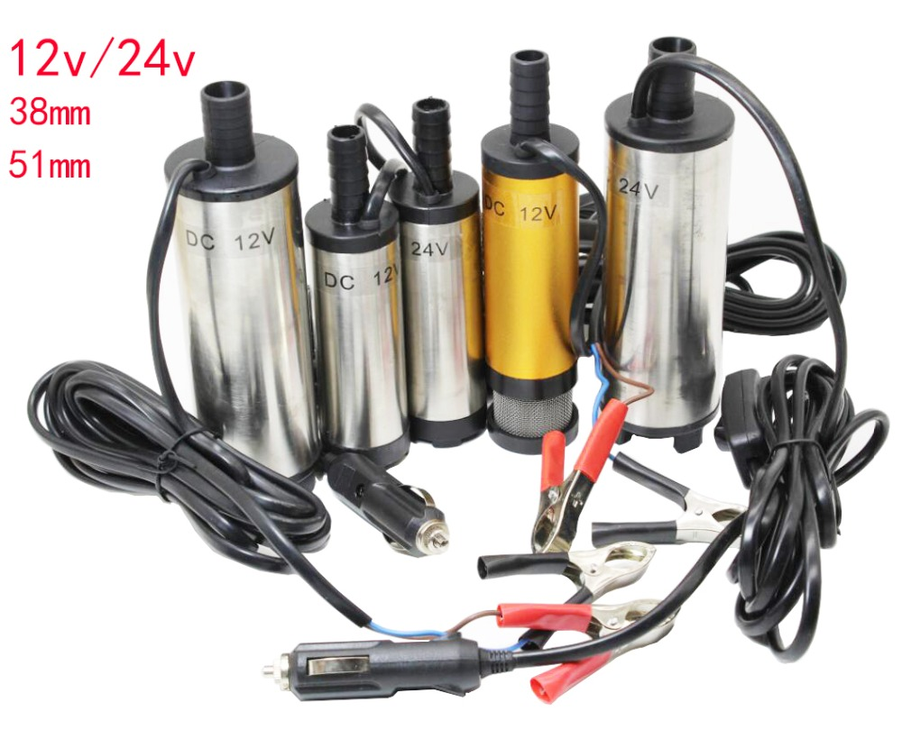Plumbing 24v Water Oil Diesel Fuel Transfer Pump Submersible Pumps Car Camping Fishing Submersible Switch Stainless Steel Dc 12v
