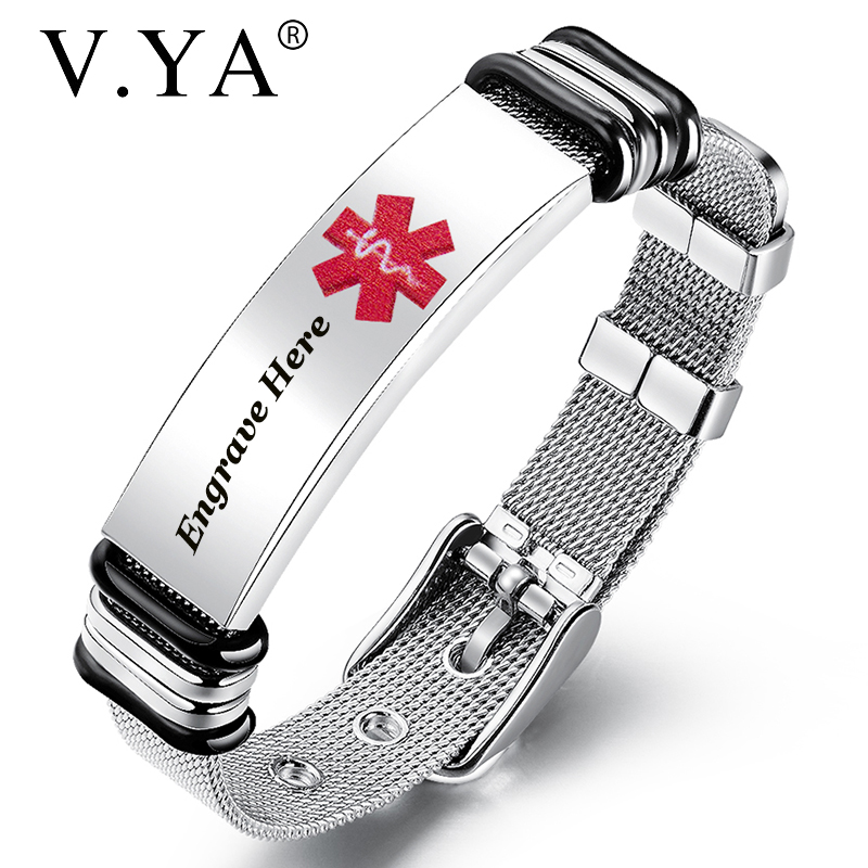 V.YA Engraved Medical Alert Men Bracelet New Style Stainless Steel Personalized Bracelet Customized Medical Men Bangle