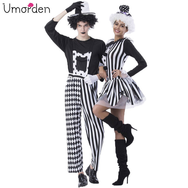 Umorden Carnival Party Halloween Circus Clown Costumes Men Mad Hatter  Costume Women Adult Magician Cosplay Fancy Dress Couple