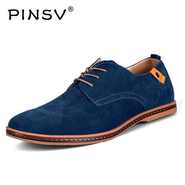 PINSV Người Đàn Ông Giày Giản Dị Da Lộn Giày Da Mens Giày Đế Màu Đen Oxford Giày Cho Nam Giới Zapatos Hombre Kích Thước Lớn 38- 48 Erkek Ayakkab