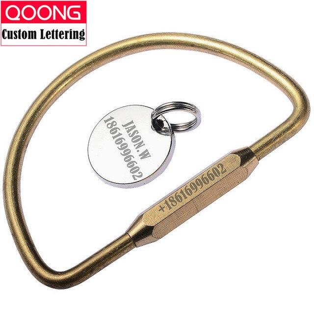 QOONG 2018 New Pure Handmade Brass Car Key Chain Ring Holder Simple  Creative Man s Strap Keyholder 972d439b1a