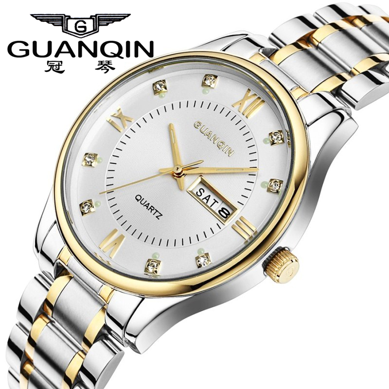 GUANQIN Watches Men Quartz Luxury Brand Men Full Steel watches Auto date week Gift waterproof Men Wristwatches Relogio Masculino 2016forsining luxury relogio masculino men s day week tourbillion auto mechanical watches wristwatches gift box free ship