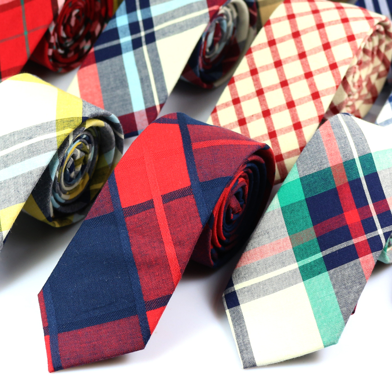 Nya mode 100% bomull Slipsar för män Casual Plaid Mens Neckties Gravatas Corbatas Slim Fit Vestidos Slipsar Party Neck Tie