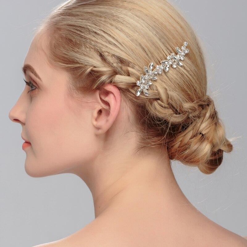 la plata de la novia adornos para el pelo de cristal peine del pelo del tocado