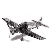 1:48 ГРУММАН F6F Hellcat Складное крыло весело 3d из металла DIY Миниатюрная модель Наборы головоломки Игрушечные лошадки дети мальчик с хобби здани