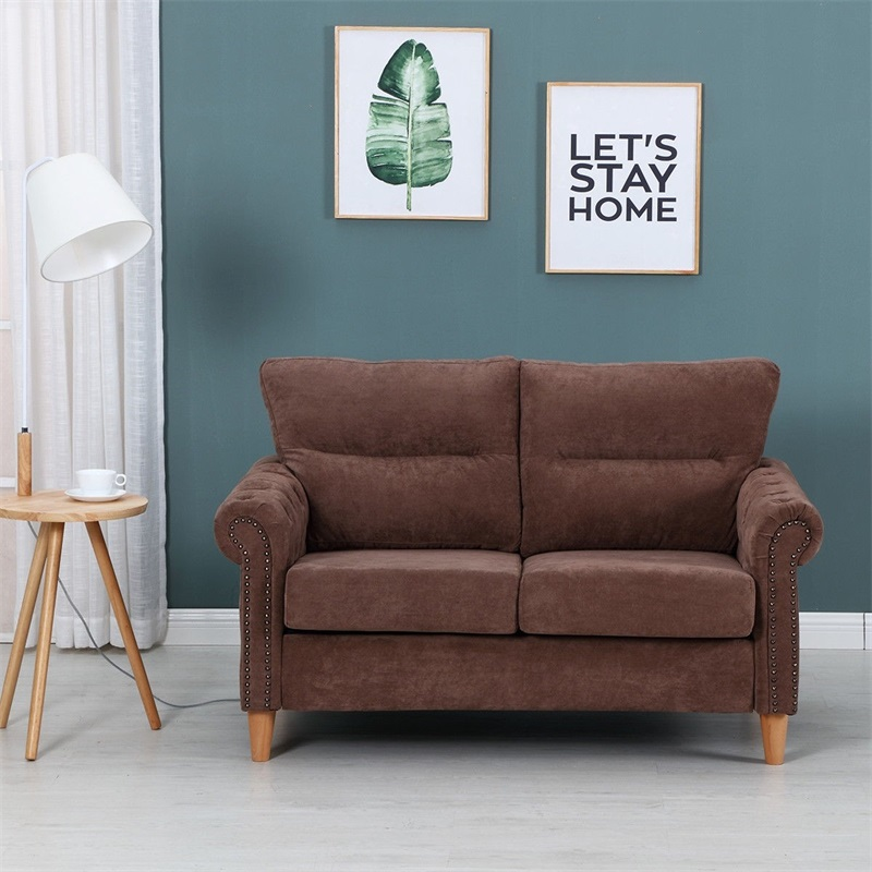 Modern Upholstered 2-Seater Linen Fabric Sofa Chesterfield Sofa  Living Room Furniture Thickly Upholstered Seat Back HW58871