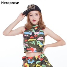 Heroprose New Fashion 2018 Women Hip hop dance Tank Top Camo Sexy Streetwear Cropped High-Necked Vest