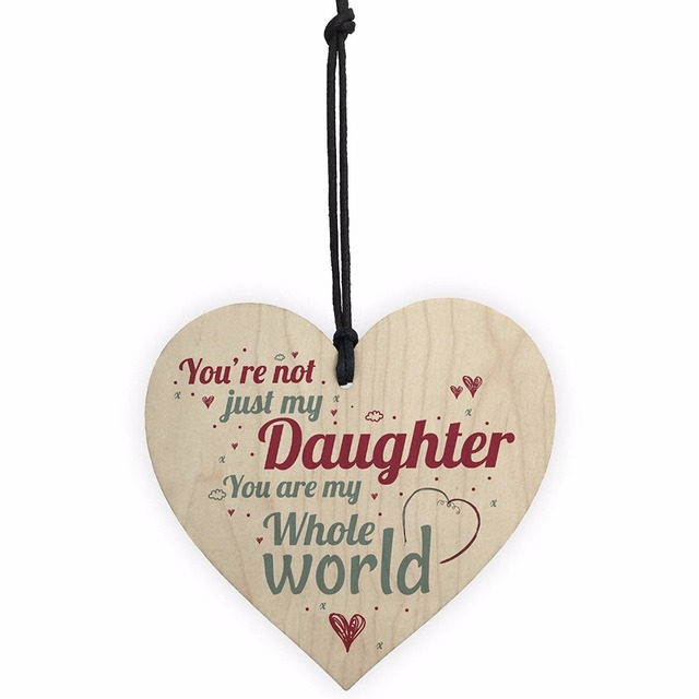 Meijiafei My Whole World Wooden Hanging Heart Plaque Mum Dad Daughter Love Gift Thank You Birthday Present