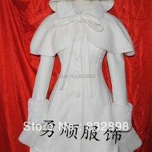 Пальто принцессы в стиле Лолиты белое шерстяное зимнее пальто, шапка и кепка, зимние пальто для девочек Брендовое длинное зимнее пальто