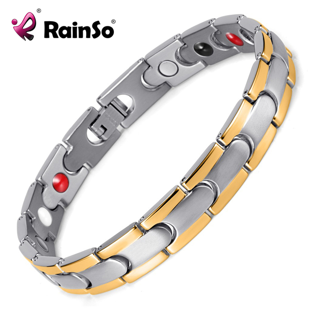 Healing Magnetic Bracelet Men Woman 316l Stainless Steel Silver Hand Chain Osb