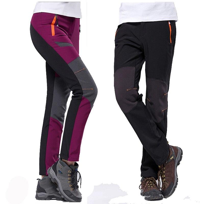 Winter Hiking Pants Women Fleece Softshell Wram Trousers Waterproof Windproof Thermal For Camping Ski Climbing