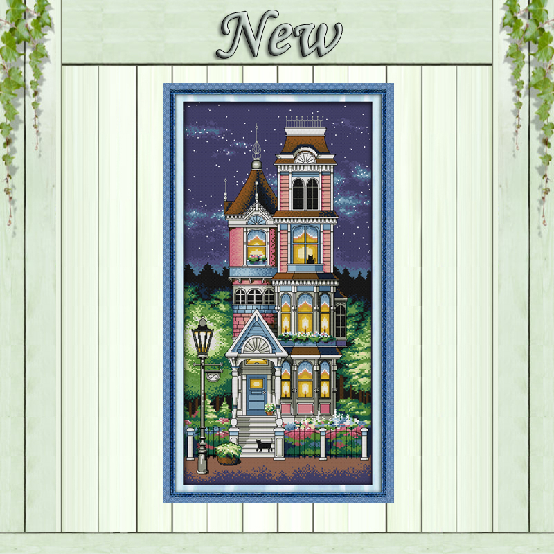 A Quiet Night Scenic Painting Pattern Counted Printed On Canvas DMC 11CT 14CT Chinese Cross Stitch Kit Needlework Set Embroidery