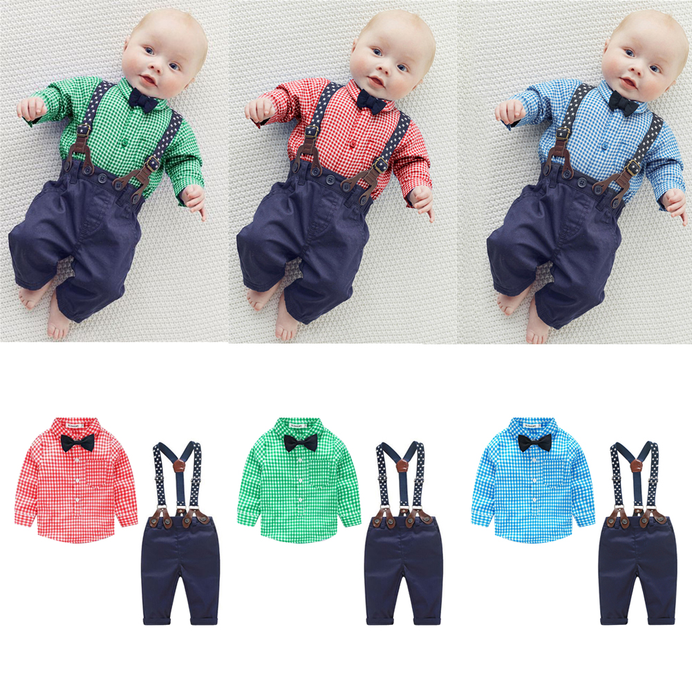 New Arrival Baby Boy Spring Gentleman Plaid Clothing Sets Suit Newborn Baby Bow Tie Shirt + Suspender Trousers Formal Party 2pcs