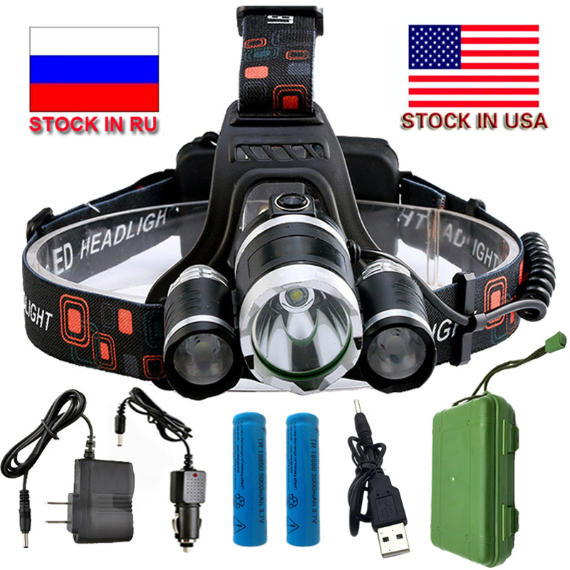 Zk20 13000lm 4 Modes T6 Led Headlamp 18650 Rechargeable Battery Light Flashlight Waterproof Outdoor Lighting Stock In Us Ru