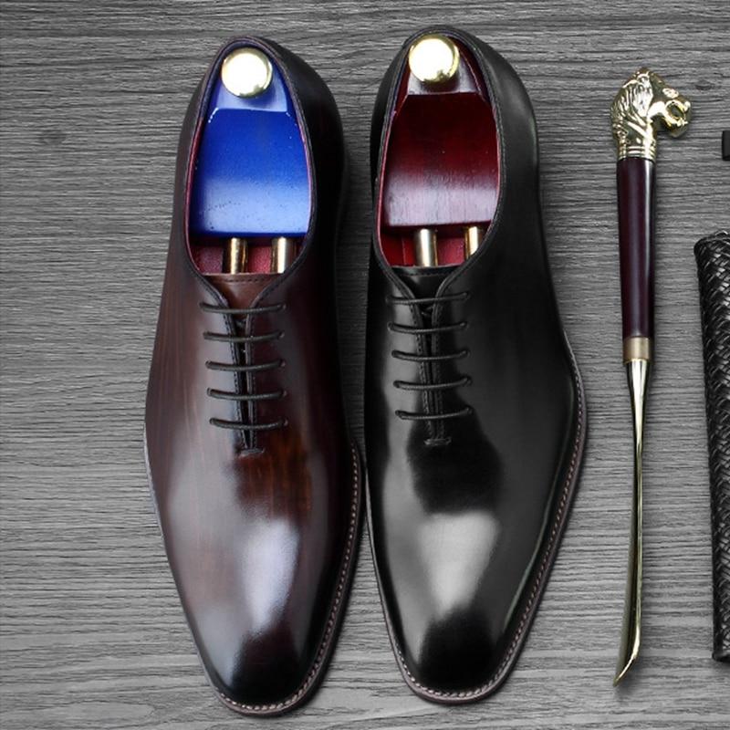Aus Designer Formalen Wohnungen Handarbeit Schuhe Ss393 Kappe Oxfords Partei Runde Mann Grundlegende Männer schokolade Schwarzes Kleid Neue Hochzeit Klassische Echtem Leder TO57qnXw