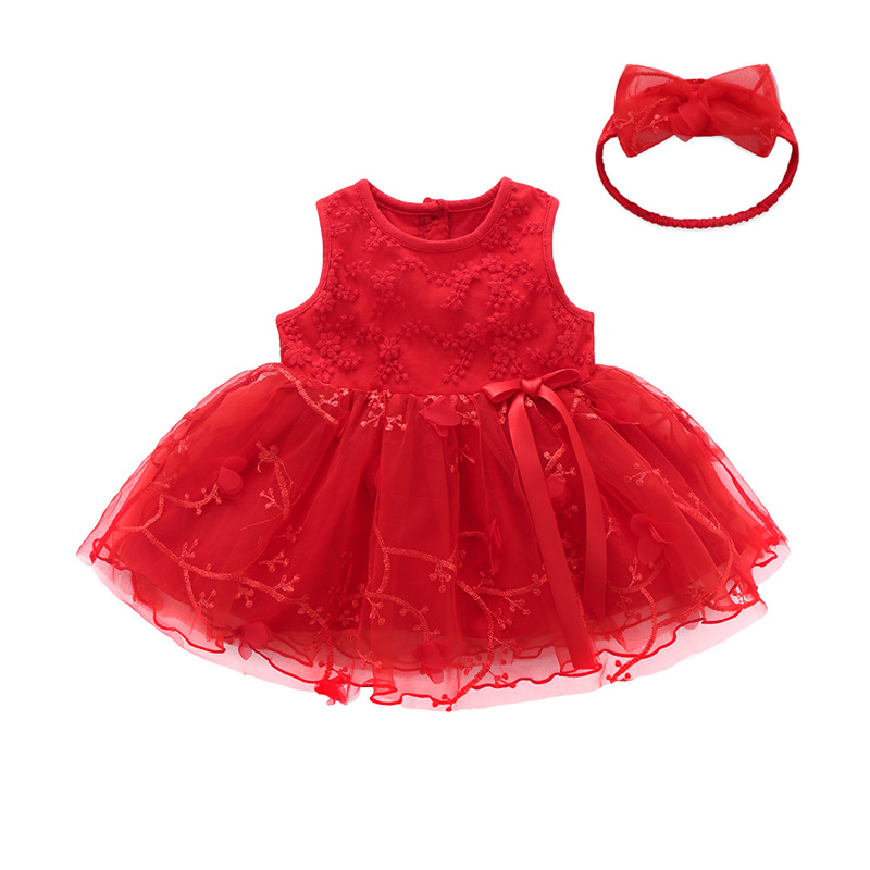 2019 summer baby girl clothes red girls short sleeve <font><b>dress</b></font> Princess 1st <font><b>birthday</b></font> party tutu <font><b>dresses</b></font> infant lace wedding suit image