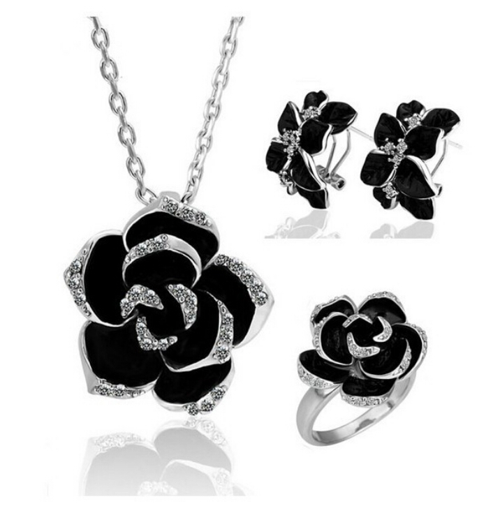 OMH wholesale fashion 18 KT white gold Austrian crystals Black roses Jewelry sets gold silver color Necklace+Earrings+ring TZ179