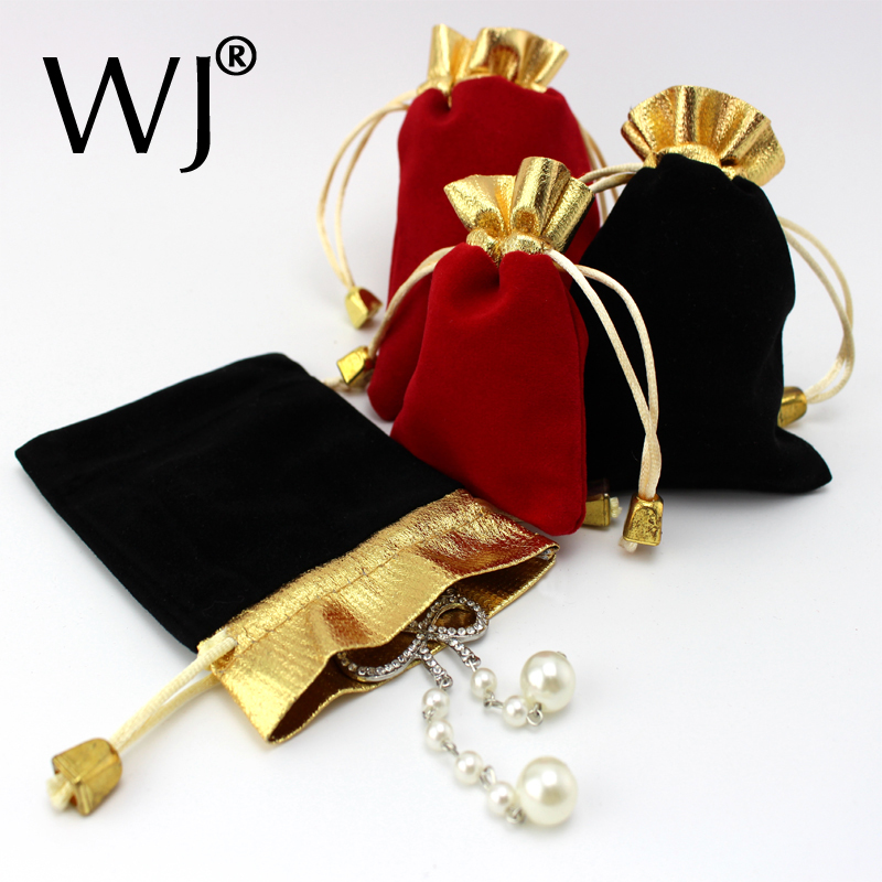 100pcs Luxury Jewellery Pouches Packing Velvet Gift Bags Wedding Jewelry Ring Necklace Bracelet Holder Drawstring Carrying Case