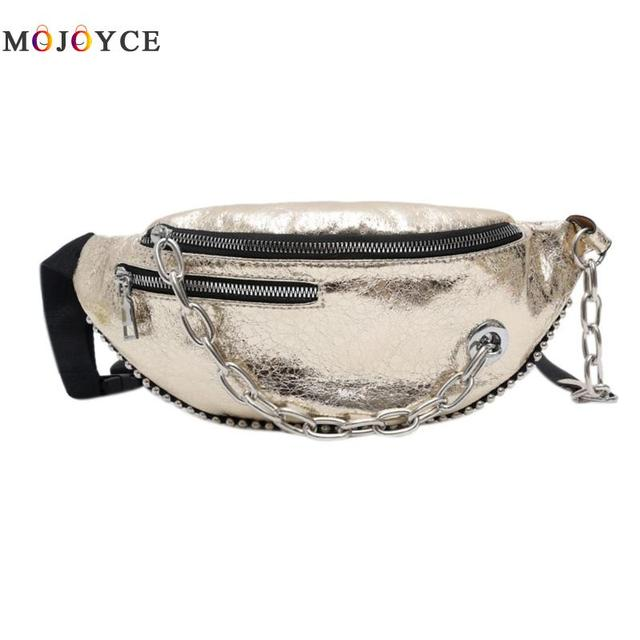 Fashion Women Fanny Pack Chain Decor Solid Color Cracked PU Leather Solid Female Waist Bag Pochete