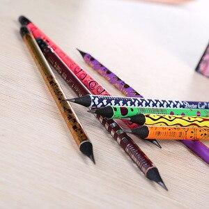 Image 2 - 100pcs kawaii nero matita di legno lotto creativo dipinta matite per la scuola ufficio di scrittura forniture carino matita HB con gomme da cancellare bulk