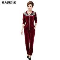 Autumn Women Hooded Sporting Suit Casual Sweatshirt Velvet 2 Pieces Set Women Sportswear Suit Middle Aged