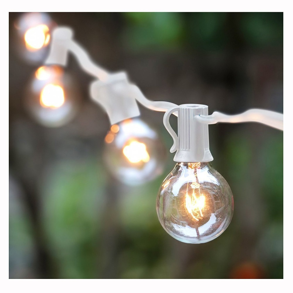 ФОТО New G30 Glass Globe String Lights, Xmas Decor Garlands, 25Ft 25 Bulbs White Durable Cable, C7 E12 Clear Bulbs Fairy Light String
