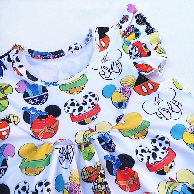 Girl Boutique Dress Clothing Children Kids Minnie Dress Girls Summer Short Sleeve Dress Clothes Kids White Milk Silk Dress