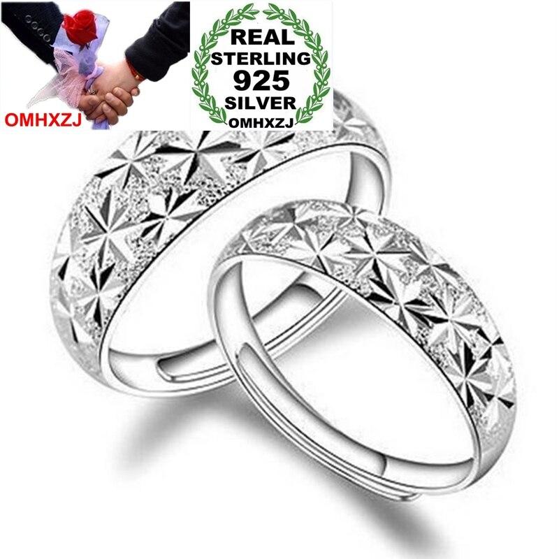 OMHXZJ Wholesale Fashion Joker Simple star Lovers Couple 925 Sterling Silver open adjust female for Woman Man Ring Gift RG08