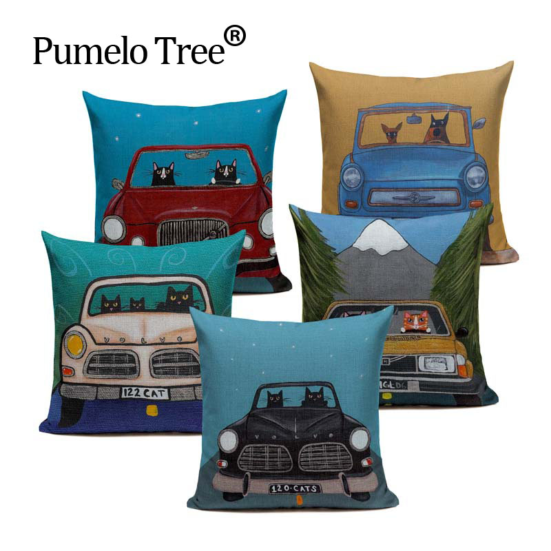 Hot Sale Pillow Lovely Cartoon Dog Cat Color Driving Car Vintage Almofadas 45X45CM Linen Pillow Decorative Linen Cushion Cover