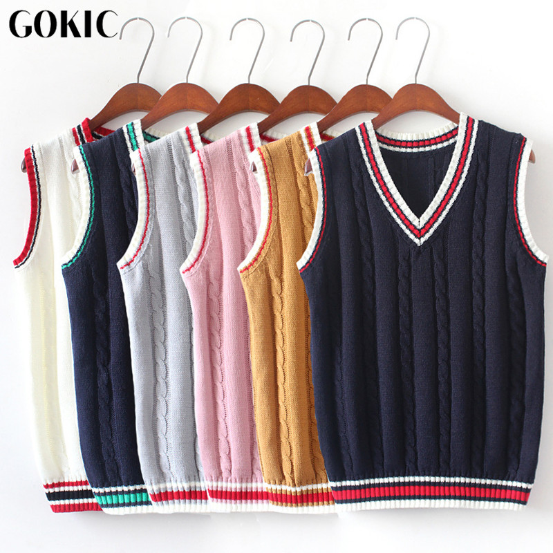 GOKIC 2017 New Sleeveless Women Sweaters Autumn Female V Neck Vest Sweater Fahsion Twist Pattern Knitted Pullovers Femme 6 Color