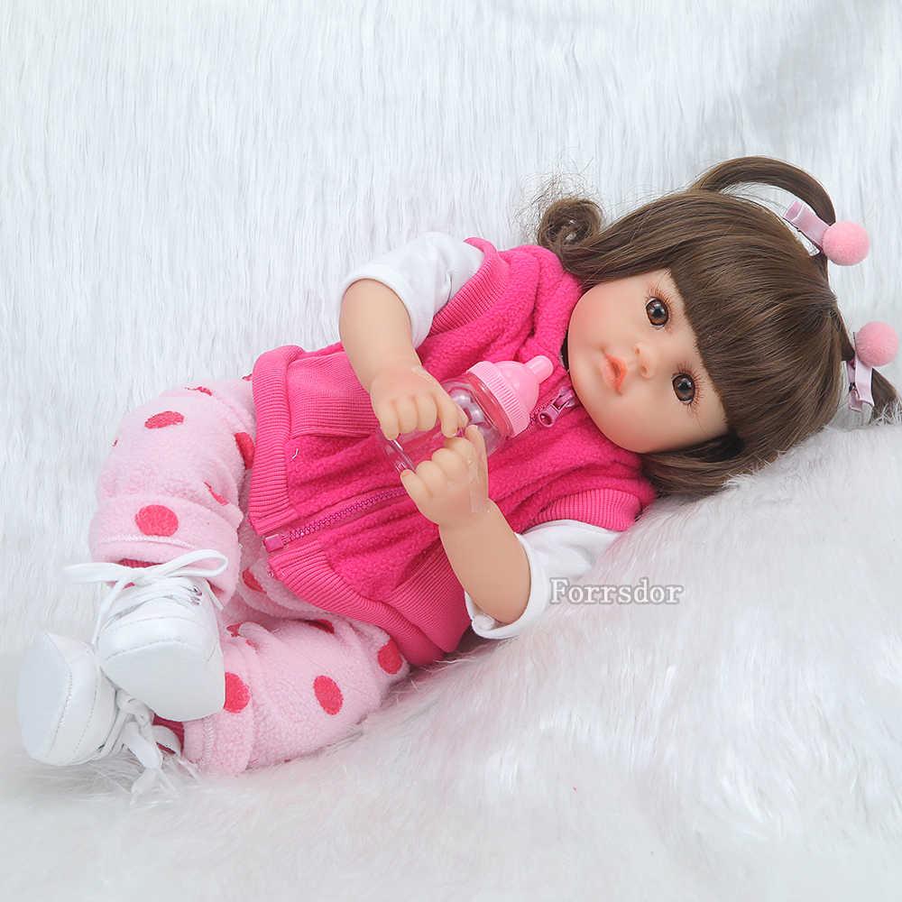 Bebê reborn boneca 43 cm novo silicone artesanal reborn bebê adorável realista menino bonecas menina menino menina silicone lol boneca