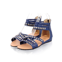 New Elegant Blue Yellow Beige Women Wedges Sandals Ladies Shoes AD-8 with Metal Decoration