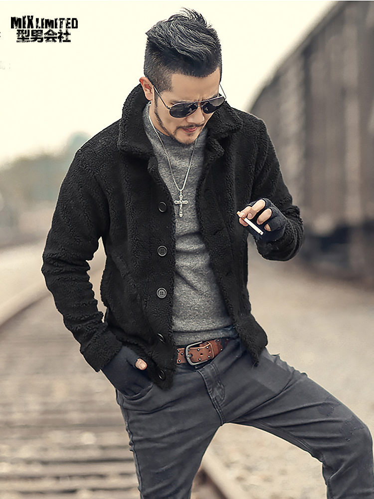 Winter Furry Jacket Men Warm Plush Collar Slim Casual Solid Knitwear Mens Fur Padded New Design Woolen Knitted Cardigan F7135