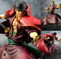 One Piece Roronoa Zoro With Red Cloak Battling Anime POP Figure Doll Model Collection Decoration 23cm Free Shipping