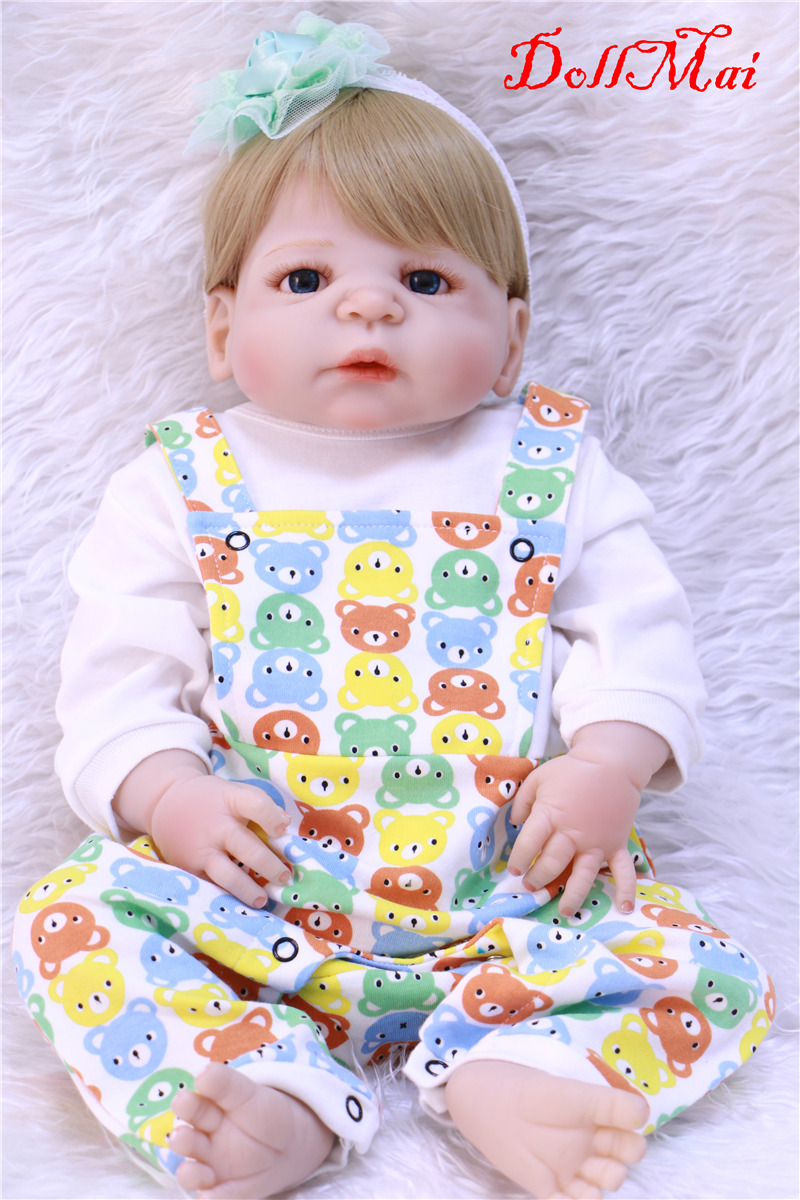 55cm Full Body Silicone Reborn Baby Doll Toys Lifelike Full Vinyl Newborn Girl blonde hair Birthday Gift bebe real boneca reborn55cm Full Body Silicone Reborn Baby Doll Toys Lifelike Full Vinyl Newborn Girl blonde hair Birthday Gift bebe real boneca reborn