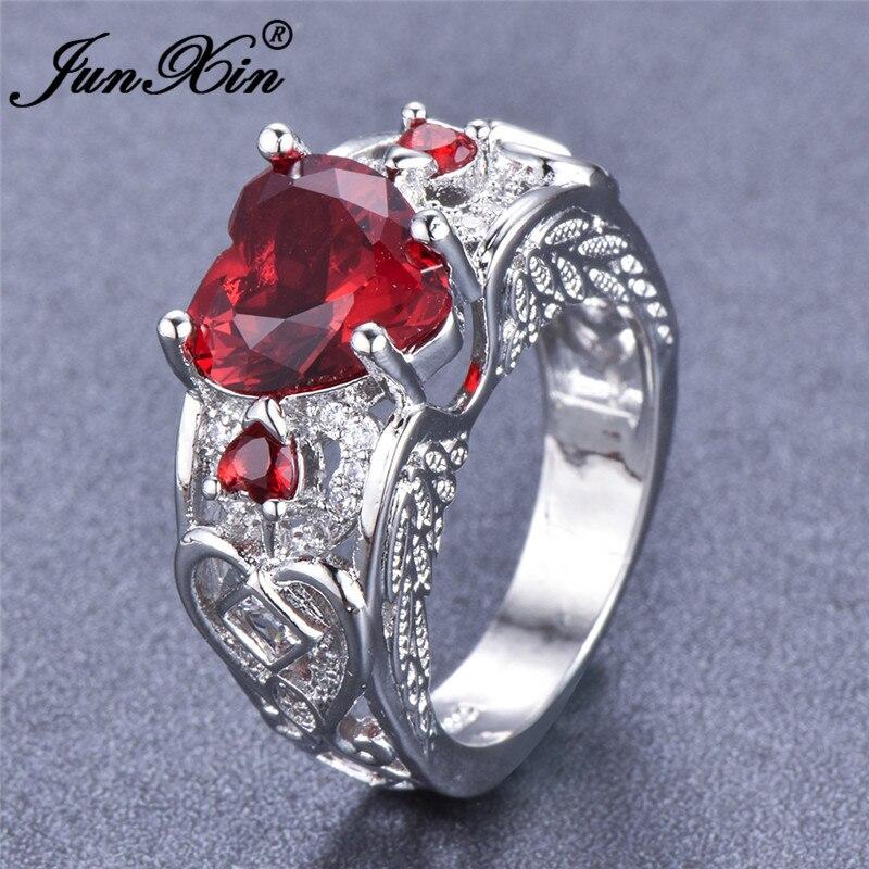 JUNXIN Antique Angel Wings Ring Luxury Red Heart Zircon Wedding Rings For Women Fashion 925 Sterling Silver Filled Jewelry