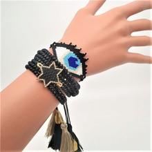 цена Go2boho Evil Eye Bracelet Delica MIYUKI Bracelet Women Men Star Pulseras Mujer Mode 2019  Jewelry Black Crystal Tassel Handmade в интернет-магазинах
