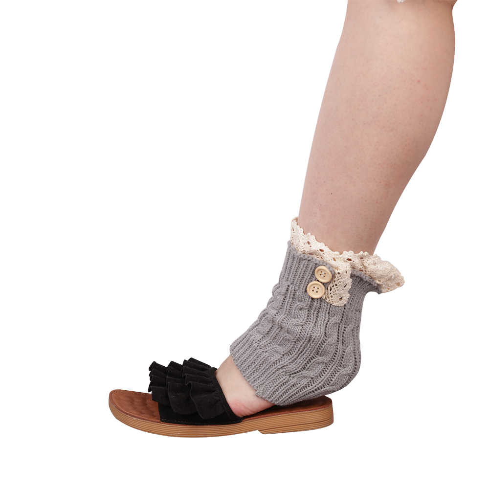 Скрученные пуговицы покрытия для ног наколенники осенне-зимние модели сапог вязаные теплые кружевные носочки Короткие Теплые носочки для ног для женщин и девочек